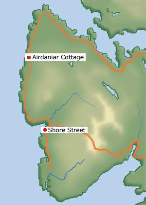 Location of Airdaniar Cottage in Applecross, Wester Ross